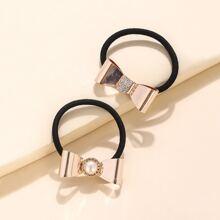 2 Stuecke Haarband mit Metall Schleife Dekor