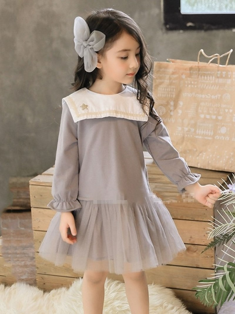 Ericdress Mesh Pleated Flare Sleeve Girl's Long Sleeve Ball Gown Dress