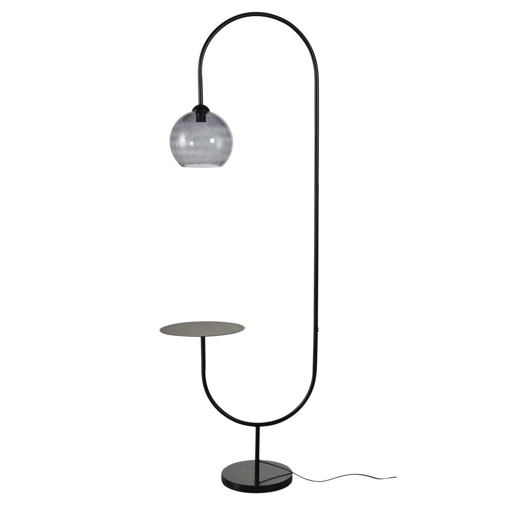 Stehlampe mit Ablageflaeche aus Rauchglas und Metall, schwarz H190