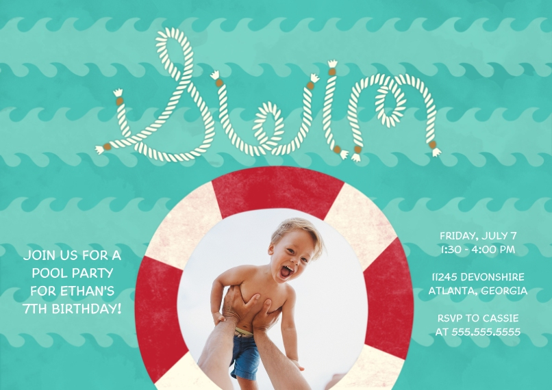 Kids Birthday Party Invites 5x7 Cards, Premium Cardstock 120lb with Scalloped Corners, Card & Stationery -Wave of a Party
