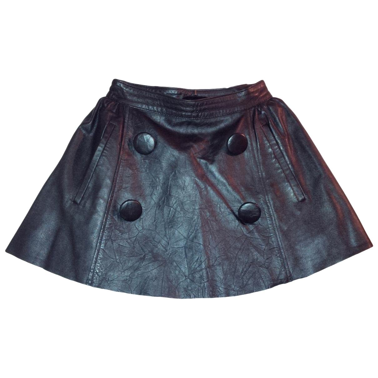 Non Signé / Unsigned \N Black Leather skirt for Women S International