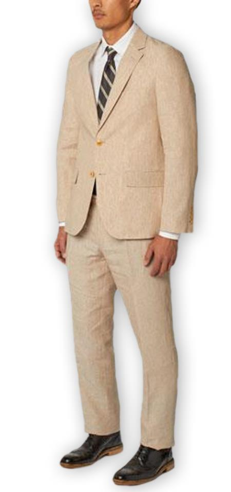 Men's Natural  Notch Lapel 100% Linen Double Vent Two Piece Suit