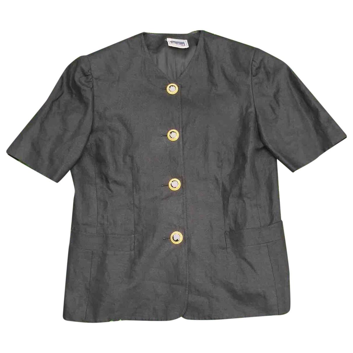 Non Signé / Unsigned \N Black Linen jacket for Women 48 IT