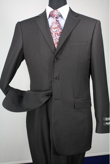2 Piece 1 Merino Wool Executive affordable suit Black Stripe