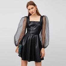 PU Leder Kleid mit quadratischem Kragen, Punkten Muster, Netzstoff und Laternenaermeln