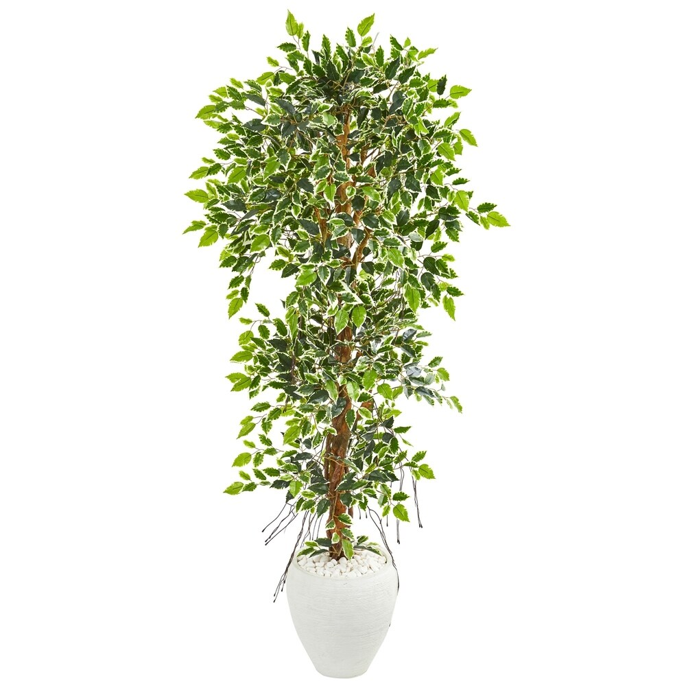 Nearly Natural 5.5-foot Elegant Ficus Artificial Tree in White Ceramic Planter