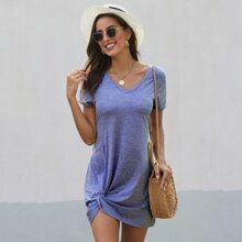 Blau  Zwirn  Einfarbig Laessig Kleider