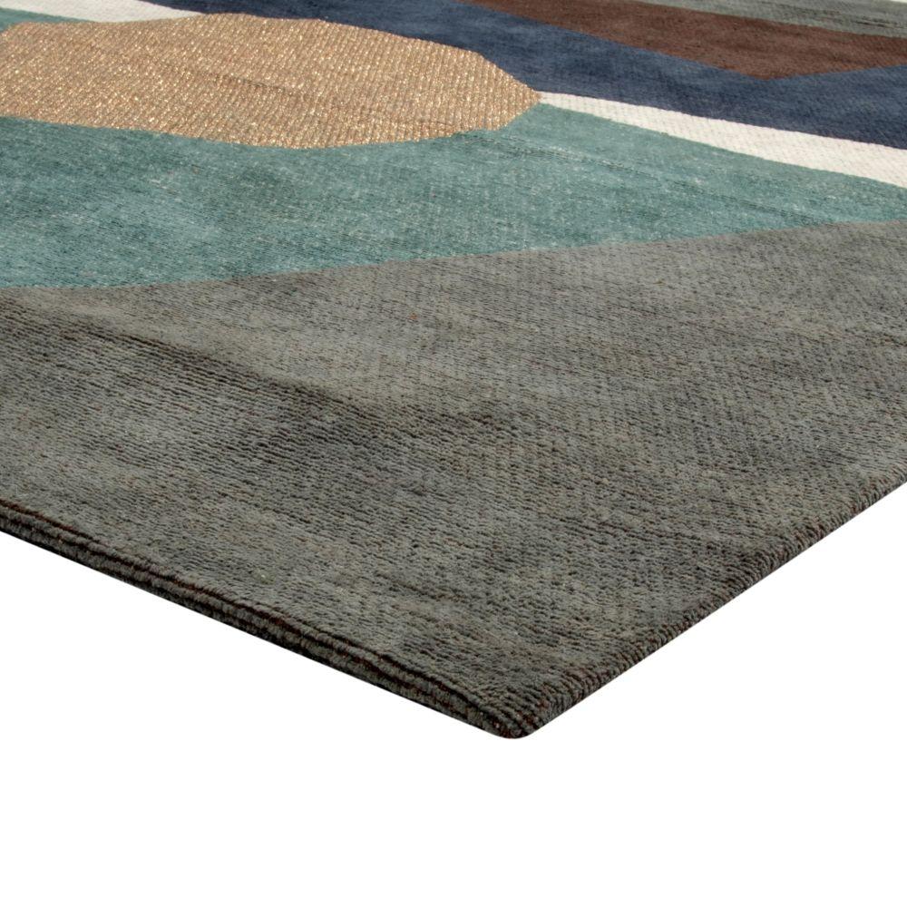 Baumwollteppich, blau, mehrfarbig bedruckt 140x200