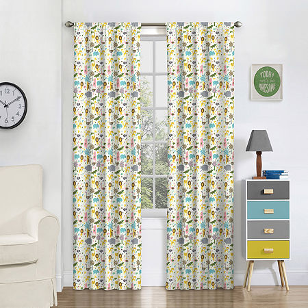 Eclipse Jungle Party Blackout Rod-Pocket Single Curtain Panel, One Size , Multiple Colors