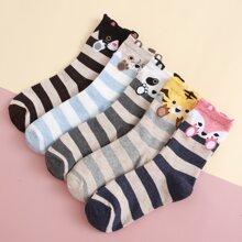 5pairs Cartoon Striped Socks