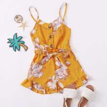 Girls Button Front Belted Floral Cami Romper