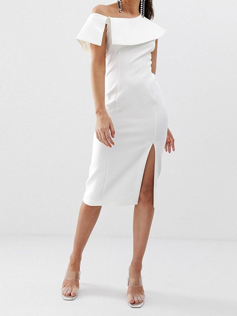 Ericdress Oblique Collar Split Short Sleeve Bodycon Mid Waist Dress