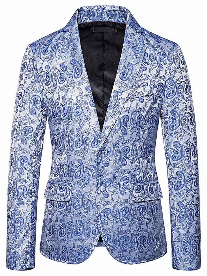 Ericdress Notched Lapel Print Single-Breasted Mens leisure Blazer