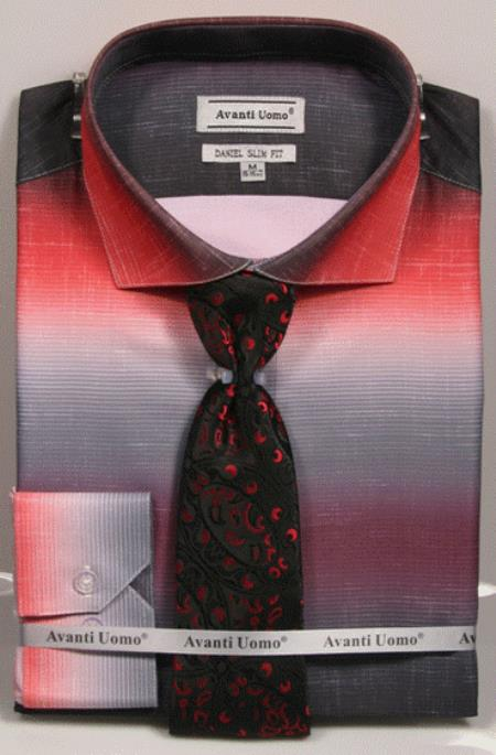 Mens Colorful Red Dress Shirts