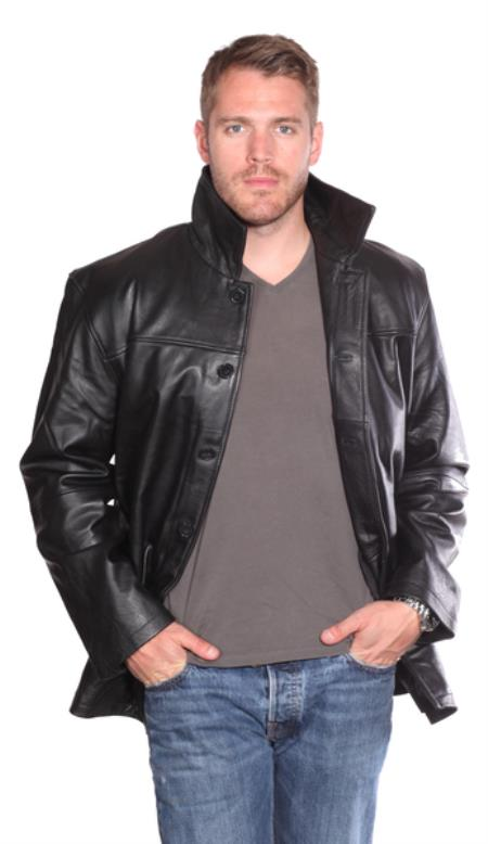 Luckas Leather Carcoat Black
