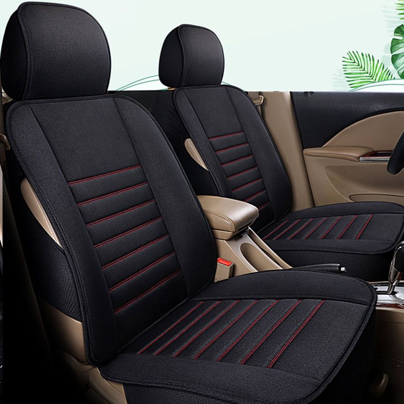 Wear-Resistant And Dirt-Resistant Four Seasons Flax All-Inclusive Driver And Passenger Seat Covers 2 Front Row Seat Covers