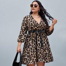 Plus Surplice Neck Leopard Belted Dress