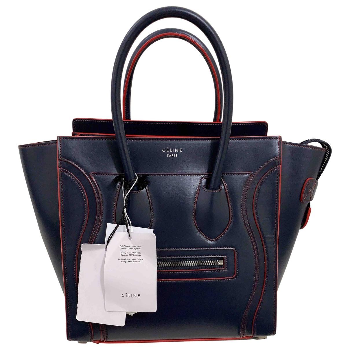Celine Luggage Handtasche in  Marine Leder