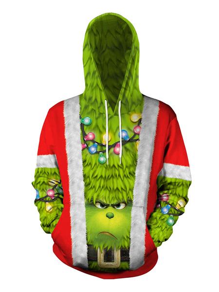 Milanoo Ugly Christmas Sweater Print Long Sleeve Holiday Hoodie