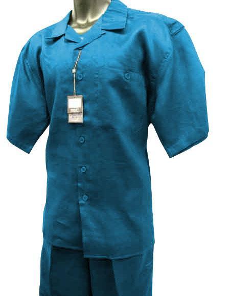 Men's Sky Blue Short Sleeve 2 Piece Solid Linen Walking Suit