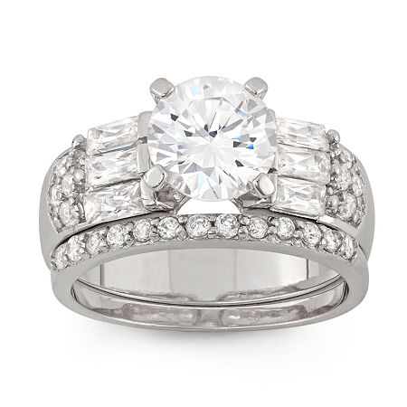 Womens 1 CT. T.W. White Cubic Zirconia Sterling Silver Round Bridal Set, 6 , No Color Family
