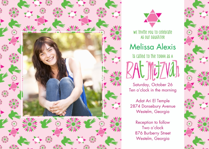 Bar & Bat Mitzvah Flat Glossy Photo Paper Cards with Envelopes, 5x7, Card & Stationery -Stars and Doves Bat Mitzvah
