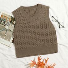 Einfarbige Pullover Weste mit Zopfmuster