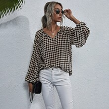 Notched Checker Bishop Sleeve Chiffon Blouse