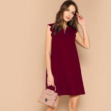 Tunik Kleid mit V-Kragen und Bogenkante
