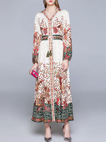 Milanoo Vestidos largos Mangas largas Cuello en V Estampado floral Cordones Borlas Vestido largo albaricoque