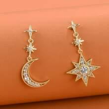 1 Paar Ohrringe mit Strass und Mond & Stern Dekor