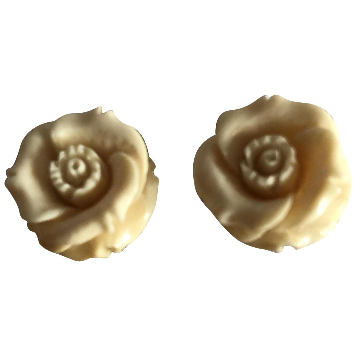 - Boucles doreilles Motifs Floraux pour femme en metal - beige