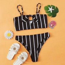 Girls Striped Cut-out Knot Front Bikini Swimsuit