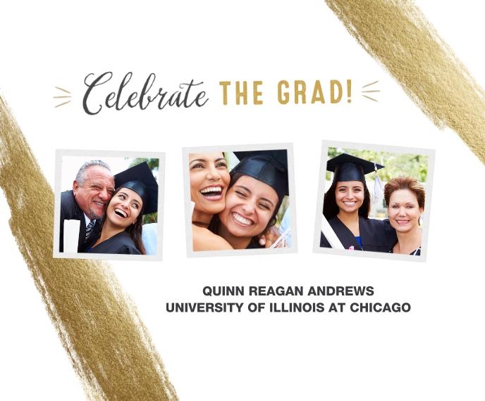 Graduation Canvas Print, 11x14, Home Décor -Celebrate The Grad Gold Brush