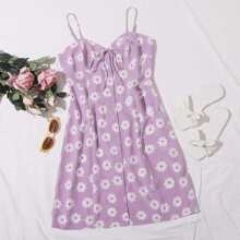 Daisy Floral Button Front Knotted Cami Dress