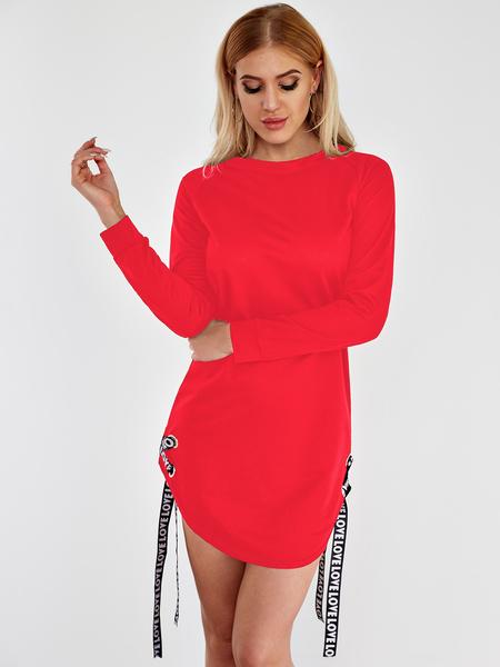 Yoins Red Tie-up Design Round Neck Curved Hem Dress