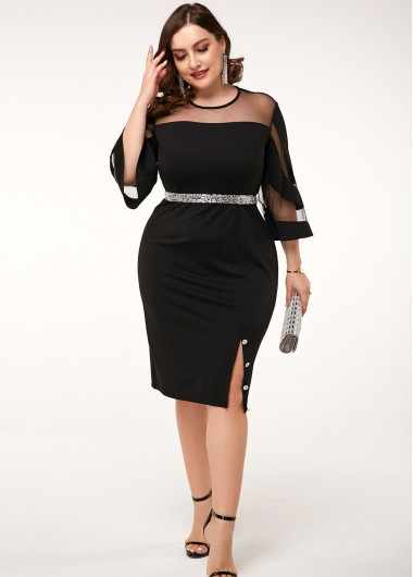 Women'S Black Plus Size Illusion Sheath Cocktail Party Dress Solid Color Side Slit Three Quarter Sleeve Midi Elegant Formal Dress By Rosewe - 18W