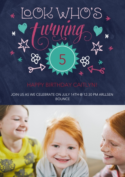 Kids Birthday Party Invites 5x7 Cards, Premium Cardstock 120lb with Rounded Corners, Card & Stationery -Doodled Invite
