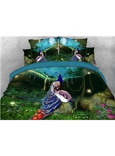 Vivilinen Splendid Peacocks in the Forest Cotton 3D 4-Piece Bedding Sets/Duvet Covers