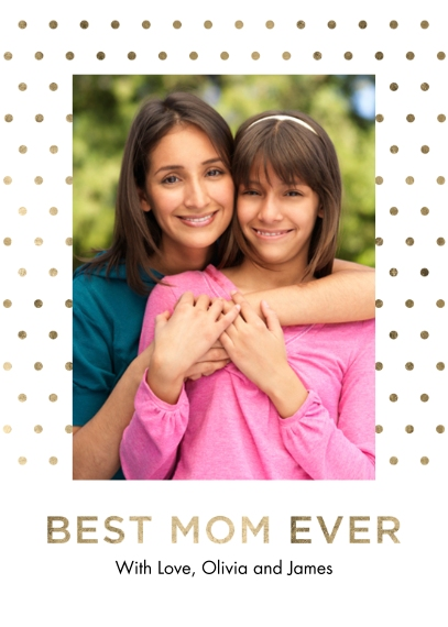 Mother's Day Cards Mail-for-Me Premium 5x7 Folded Card , Card & Stationery -Mom's Day Gold Dots
