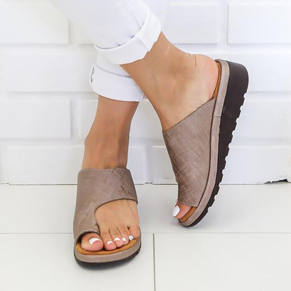 Large Size Women Casual Leopard Clip Toe Platform Sandals Orthopedic Bunion Corrector