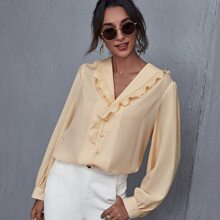 Ruffle Trim Solid Blouse