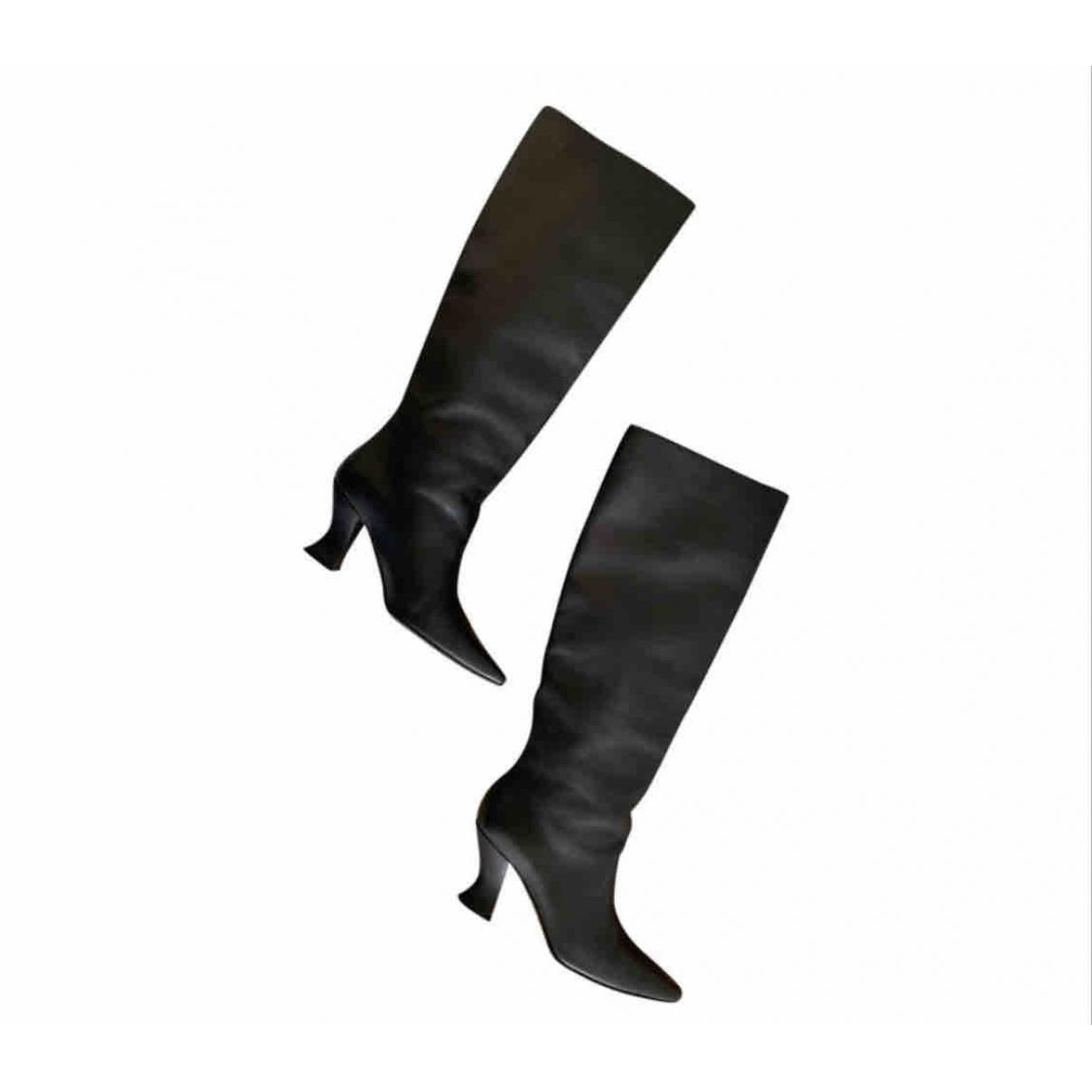 Bottega Veneta \N Black Leather Boots for Women 38.5 EU