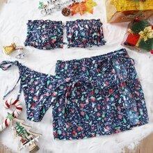 3pack Christmas Print Frill Bandeau Bikini Swimsuit