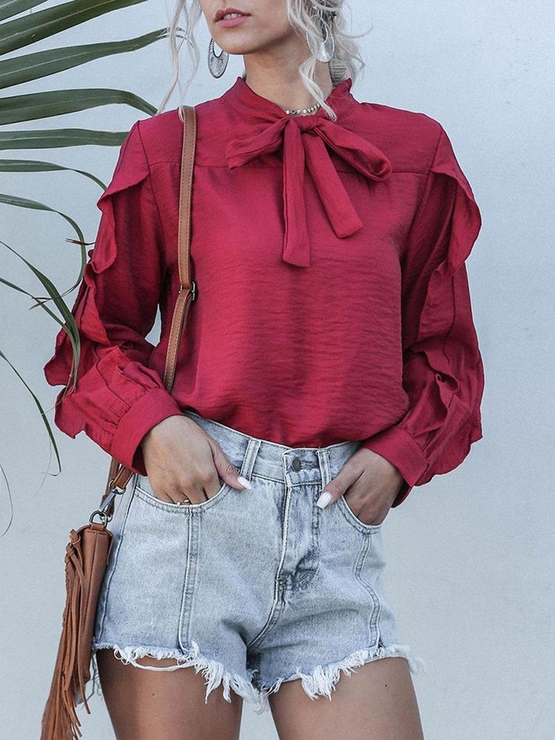 Ericdress Elegant Bowknot Plain Standard Long Sleeve Blouse
