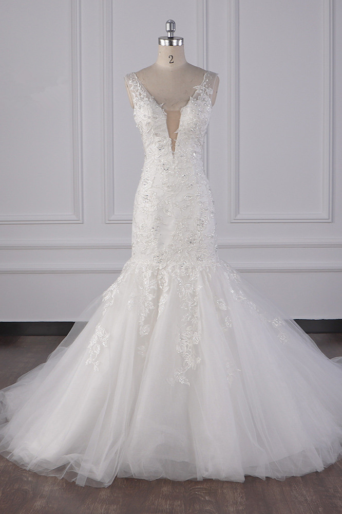 BMbridal Gorgeous V-Neck Mermaid Lace Appliques Wedding Dress Sequined Sleeveless Bridal Gowns Online