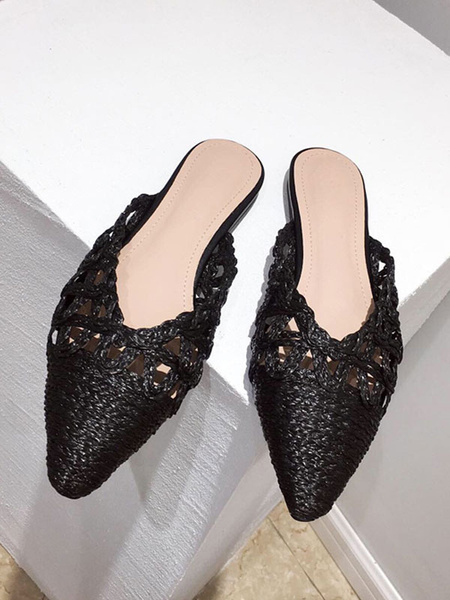 Milanoo Zapatos planos blancos con cordones y punta fina para mujer