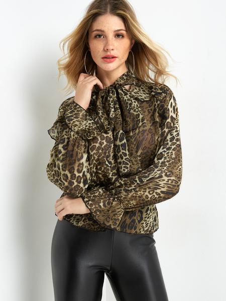 Yoins Leopard Print Tie-Neck Sheer Mesh Flouncy Shirt