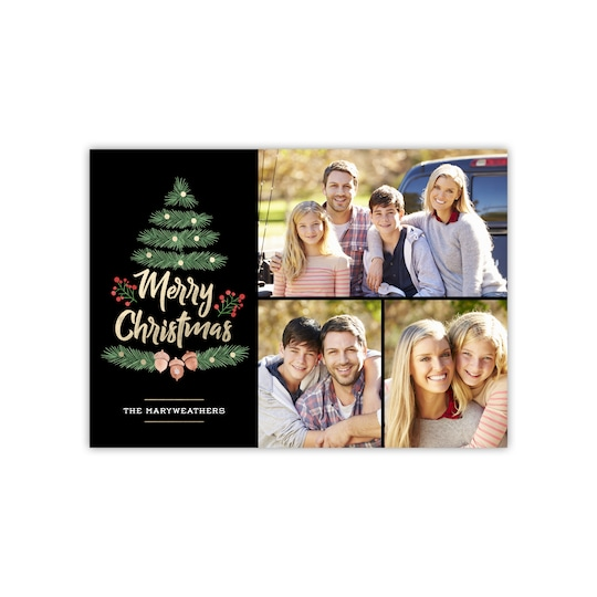 20 Pack of Gartner Studios® Personalized Earthy Trees Flat Foil Holiday Photo Card in Black | 5