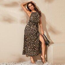 Split Thigh Belted Leopard Halter Dress